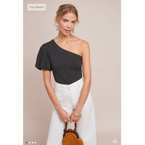 Maeve Polka Dot One Shoulder Top